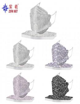 紫羲ZXFH.NET韩版鱼嘴一次性防护口罩 水刺布鱼鳞印花成人 儿童口罩现货